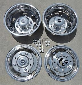 Ford F450 F550 19 5 99 02 Stainless Dually Wheel Simulators 8 Lug Bolt On