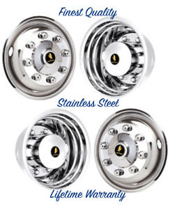 19 5 Gmc Truck T6500 T7500 8 Lug Wheel Simulator Rim Liner Hubcap Covers Set