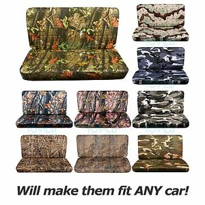 Camo Bench Seat Covers Car truck van suv 60 40 40 20 40 50 50 W Console armrest