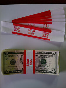 5000 New Self sealing Currency Bands 500 Denomination Straps Money Fives