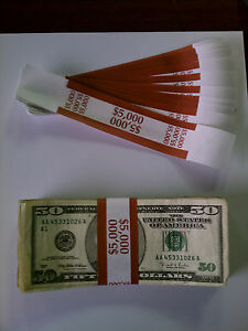 5 000 New Self sealing Currency Bands 5000 Denomination Straps Money Fifty