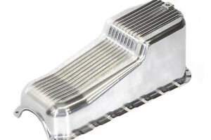 Sbc Chevy Finned Polished Aluminum Oil Pan Driver Dipstick 55 79 Street Hot Rod