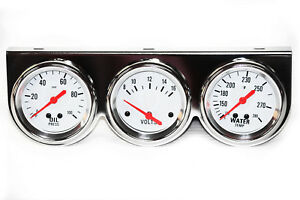 Chrome White Face 2 5 8 Triple Gauge Set Oil Pressure Water Temp Volt Meter 3
