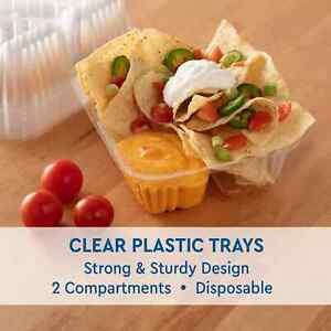 125 Trays Nacho Cheese 20 Oz Tray Clear Plastic 2 compartment 5 X 6 Usa Made