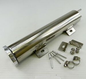 2 X 10 Polished Stainless Steel Radiator Coolant Overflow Puke Tank 14 Oz