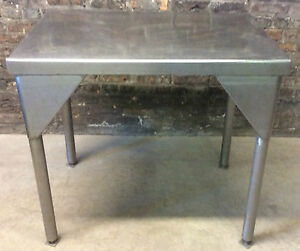 Vintage C1950s Stainless Steel Table Restaurant Table Industrial