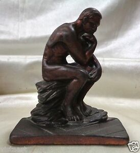 Antique Pair Of Bronze Rodin The Thinker Bookends 5 5 X 5