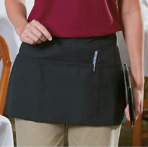 24 New Cornerstone Black Waist Apron Commercial Grade Spun Poly