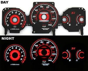 Fits 99 00 Honda Civic Si Red Reverse El Glow Gauge Type R Black Face Mt