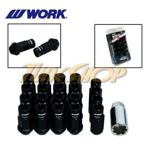 Work Racing Rs R Extended Forged Aluminum Lock Lug Nuts 12x1 5 1 5 Black Open H