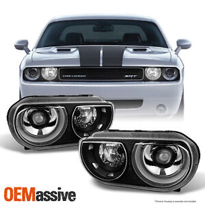 Fit 2008 2014 Dodge Challenger Replacement Black Hid Type Headlights Lamp L r