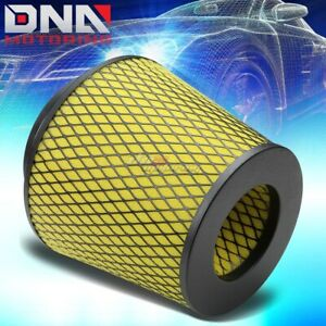 4 Inlet Yellow Cold Air Short Ram Intake Cone Foam Filter With 3 3 5 Reducers