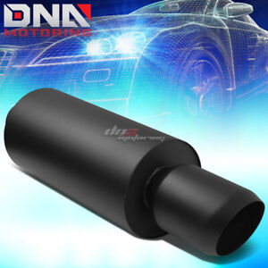 3 inlet 4 5 Black Domed Tip Performance Stainless Steel Round Exhaust Muffler