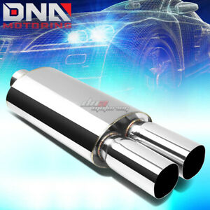 3 inlet 3 Chrome Dual Square Tips Performance Stainless Oval Exhaust Muffler