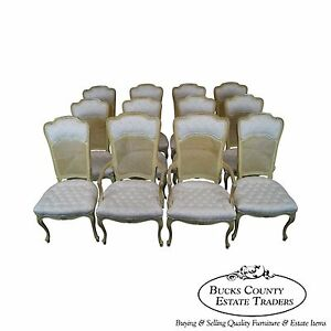 Vintage French Louis Xv Style Set Of 12 Painted Cane Back Dining Chairs
