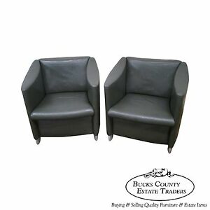Davis Mid Century Modern Style Pair Of Leather Lounge Club Chairs C