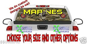 Usa Marines Military Dog Rear Window Graphic Decal Truck Wrap See Thru
