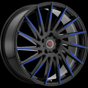18 Inch Revolution Racing R15 Black And Blue Wheel Rims Tires Fit 5 X 114 3