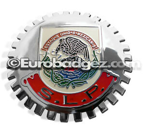 1 New Chrome Front Grill Badge Mexican Flag Spanish Mexico Medallion Slp S L P