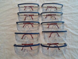 Lot Of 10 Safety Glasses Usa Patriotic Red White Blue Clear Lens Adjustable Arm