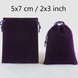 200 Deep Purple Wedding Velvet Square Favour Jewelry Pouches Bag 2 X 3 Inch