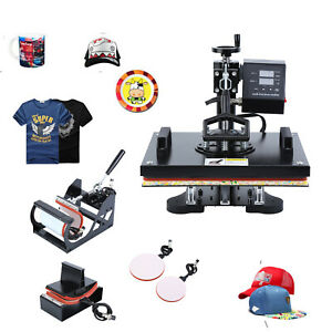 5 In 1 Digital Heat Press Machine Sublimation For T shirt mug plate hat Print
