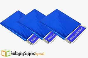 Blue Metallic Bubble Mailers 9 X 11 5 Padded Envelopes 100 Pieces Per Case