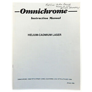 Omnichrome Helium cadmium Laser Instruction Manual 39x 56x 74x 112x