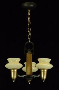 Antique 1930 S Art Deco Custard Shade Bronze Gold Vintage Slip Shade Chandelier