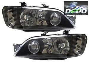 Fit 2002 2003 Mitsubishi Lancer Es Oz Rally Black Head Lights Oe Style Depo Pair