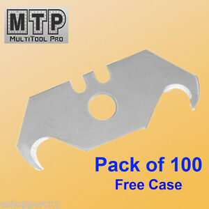 Pack 100 Pc Utility Hook Blades W Free Case Carpet Roofing Knife Standard Size