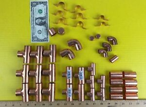 Lot Copper Pipe Plumbing Fittings Elbows Tees Caps Nibco Free Priority Shipping
