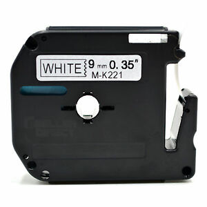 Compatible Brother Mk 221 P touch Black On White Label Tape 9mm X 8m M k221