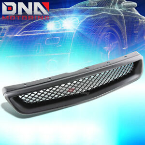 For 99 00 Civic Abs Plastic Black Type r Style Front Bumper Grille grill Cover
