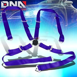 Universal 4 Point 2 Blue Nylon Strap Harness Safety Camlock Racing Seat Belt