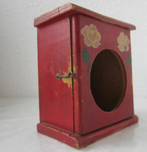 Antique Alarm Clock Wooden Red Box Hand Painted With Roses Folk Art