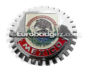 1 New Chrome Front Grill Badge Mexican Flag Spanish Bandera De Mexico Medallion