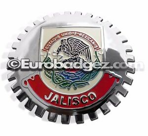 1 New Chrome Front Grill Badge Mexican Flag Spanish Mexico Medallion Jalisco
