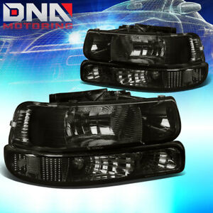 For Chevy Silverado 1999 2002 Smoked Housing Clear Corner Bumper Headlight Light