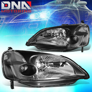 For Honda Civic 2001 2003 Sedan Jdm Black Housing Clear Coner Headlights Lamp