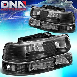 For Chevy Silverado 1999 2002 Black Housing Clear Corner bumper Headlight Light