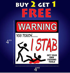 Funny Warning Bumper Sticker Decal Get Your Own F Cking Tools Vinyl Toolbox