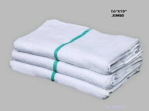 60 Terry Cloth Jumbo Green Stripe Cleaning Janitorial Towels Shop Bar Rags 16x19