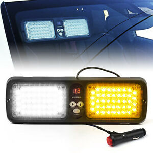 86 Led Sun Shield Emergency Hazard Visor Windshield Strobe Light White Amber