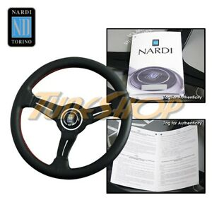 Italy Nardi Rally Deep Corn 330mm Steering Wheel Black Perforated Leather Red B