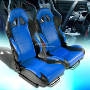 2x Universal Fully Reclinable Pvc Leather Lightweight Racing Seats Black blue