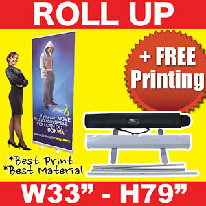 Retractable 33 x 79 Roll Up Banner Stand Free Printing Free Shipping
