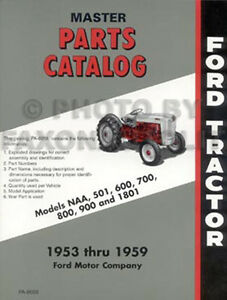 Ford Tractor Parts Book 600 700 800 900 Series 1955 1956 1957 1958 1959 601 1801