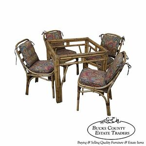 Antique Bamboo Rattan Square Patio Sunroom Dining Table Chair Set