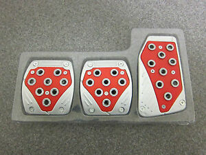 Brand New Universal Racing Pedal 3 Piece Silver Red Deal Of The Day